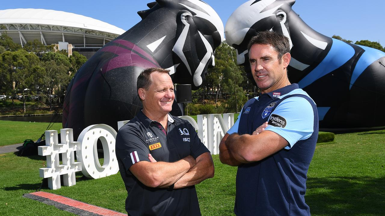ADELAIDE, AUSTRALIA - FEBRUARY 04:Maroons Coach Kevin Walters and Brydens Lawyers NSW Blues coach Brad Fittler with the State on Origin Sheild at Elder Park during the 2020 NRL State or Origin series launch at Adelaide Oval on February 04, 2020 in Adelaide, Australia. (Photo by Mark Brake/Getty Images)