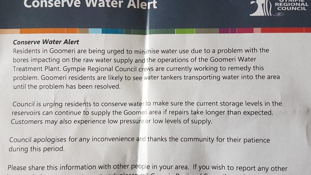 Gympie Regional Council flyer on Goomeri water problem.