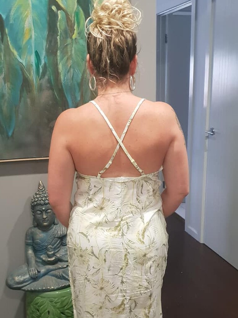 Little details such as crossed back straps helped the nightie look more like a slip dress. Picture: Facebook/Belle Pikko