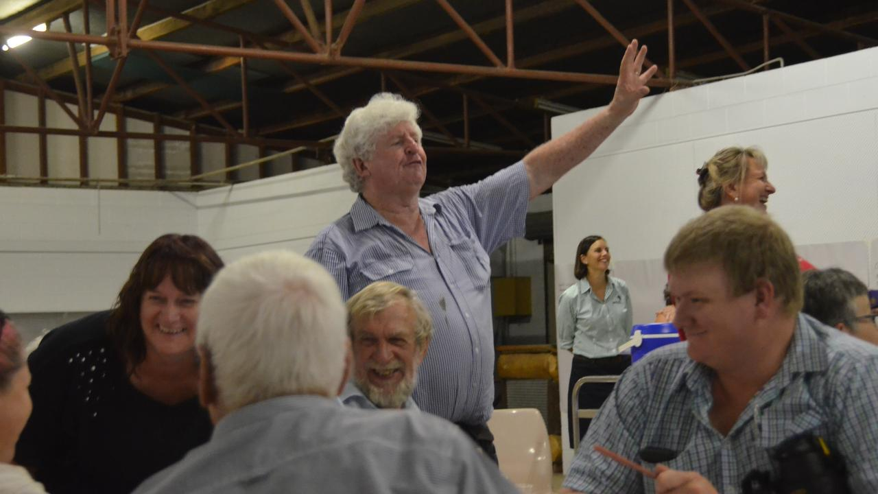 DREAM BIG: Peter Kenyon encouraging Monto residents to brainstorm ideas for their Rural Aid makeover. Picture: Sam Turner.