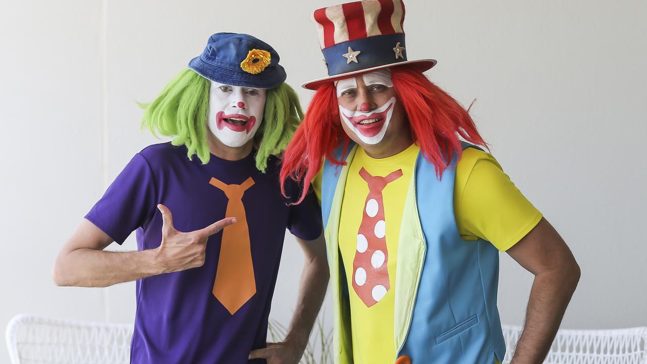 Brisbane clowns, Dagwood & Peebo. Photo: Mark Cranitch.