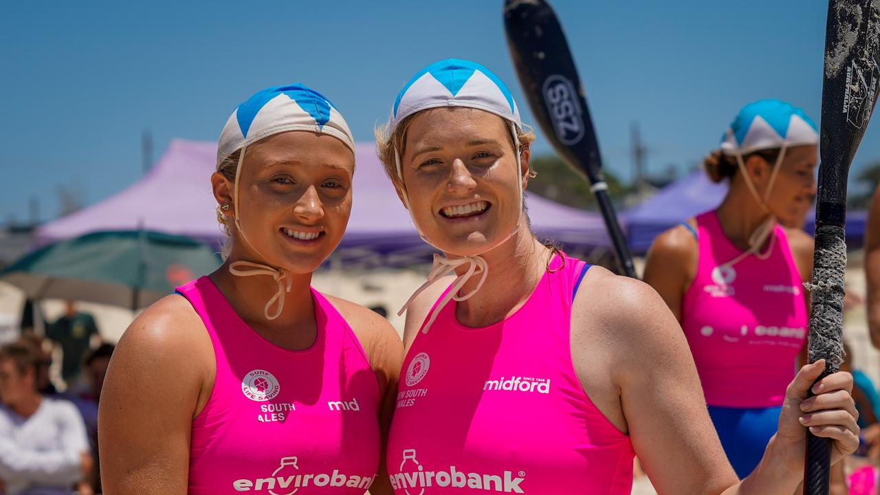 Sisters on competing doubles skis Kaitlin Smith and Hayley Smith at the NSW SLSC CountryChampionships at Kingscliff over the weekend. Photo: CHRIS SENN - Geosnapshot.com