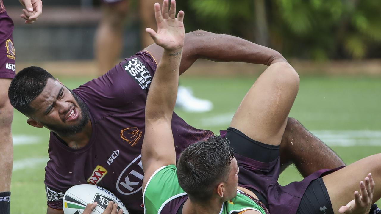 Brisbane Broncos player Payne Hass in action during a team training session in Brisbane, Thursday, January 30, 2020. (AAP Image/Glenn Hunt) NO ARCHIVING