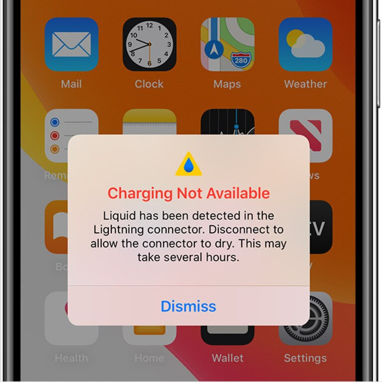 Your iPhone won't charge if water is detected in the Lightning connector