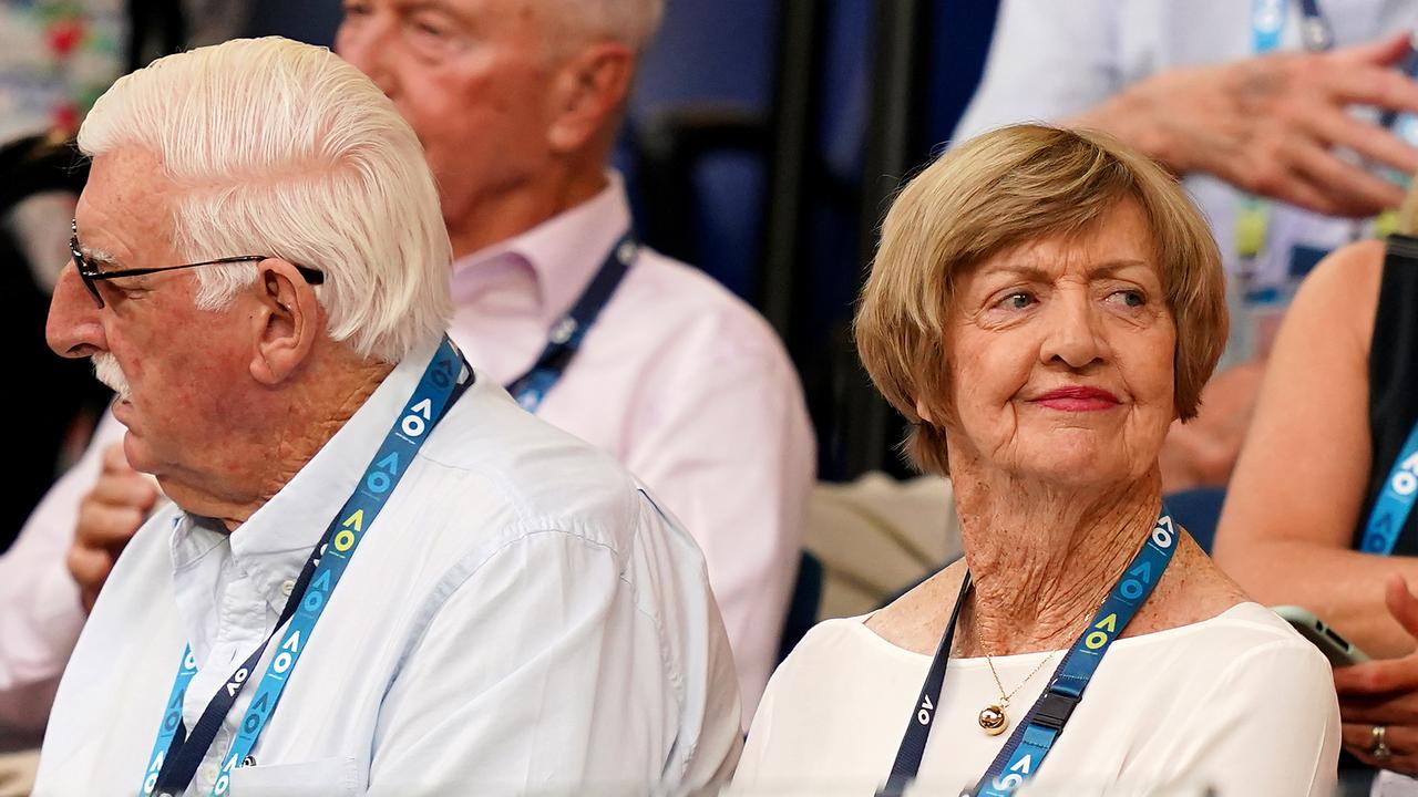 Margaret Court and husband Barry watch on ahead of the men's singles semi final between Dominic Thiem of Austria and Alexander Zverev of Germany at the Australian Open. PHOTO: AAP Image/ Scott Barbour