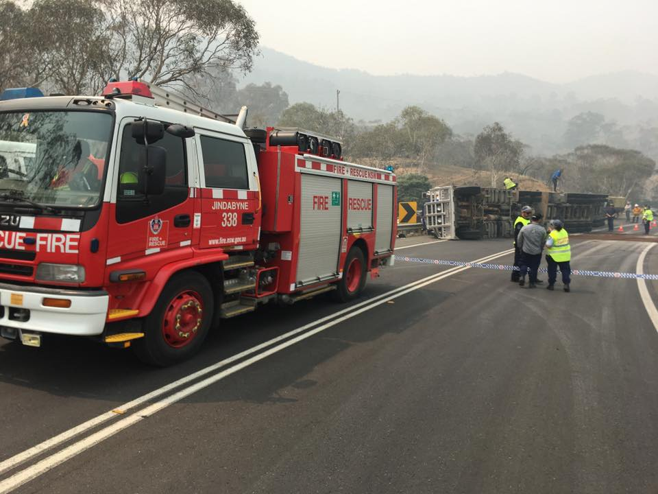 Emergency services are still on scene at the crash past East Jindabyne. PHOTO: Fire and Rescue NSW Station 338 Jindabyne