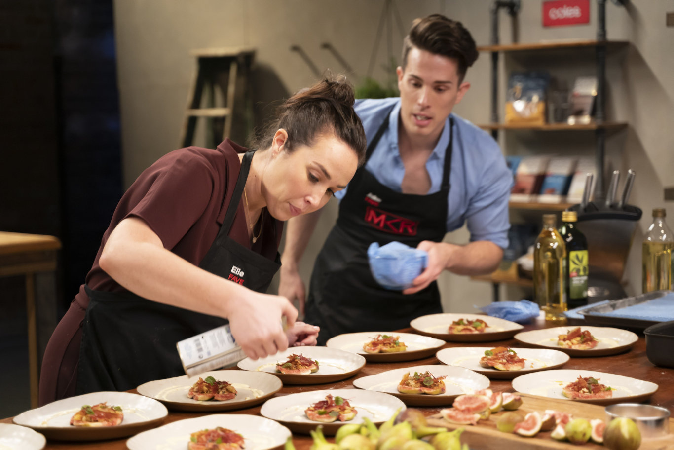 Jake and Elle Harrison during their instant restaurant on MKR: The Rivals.