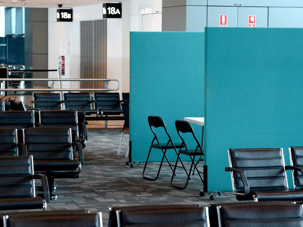 The area of Terminal 2 at Melbourne Airport being used to assess passengers' arriving from China for the Coronavirus. File image. Picture: Andrew Henshaw