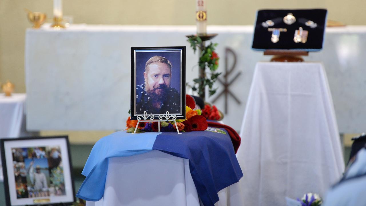 Sergeant Brendan Poustie's funeral.