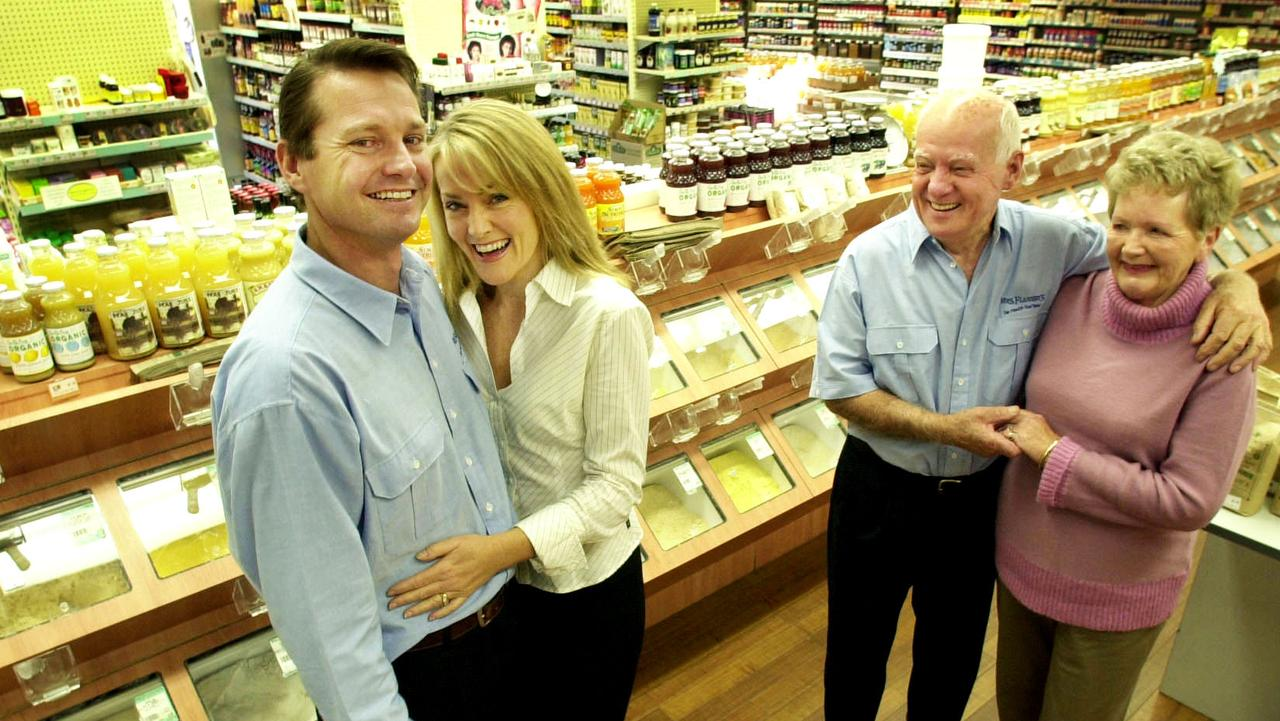 The Flannerys family sold out of the business 11 years ago. Pictured are from left to right: Martin Meek with wife Genevieve and Berice Flannery with husband Mal at the Benowa store.