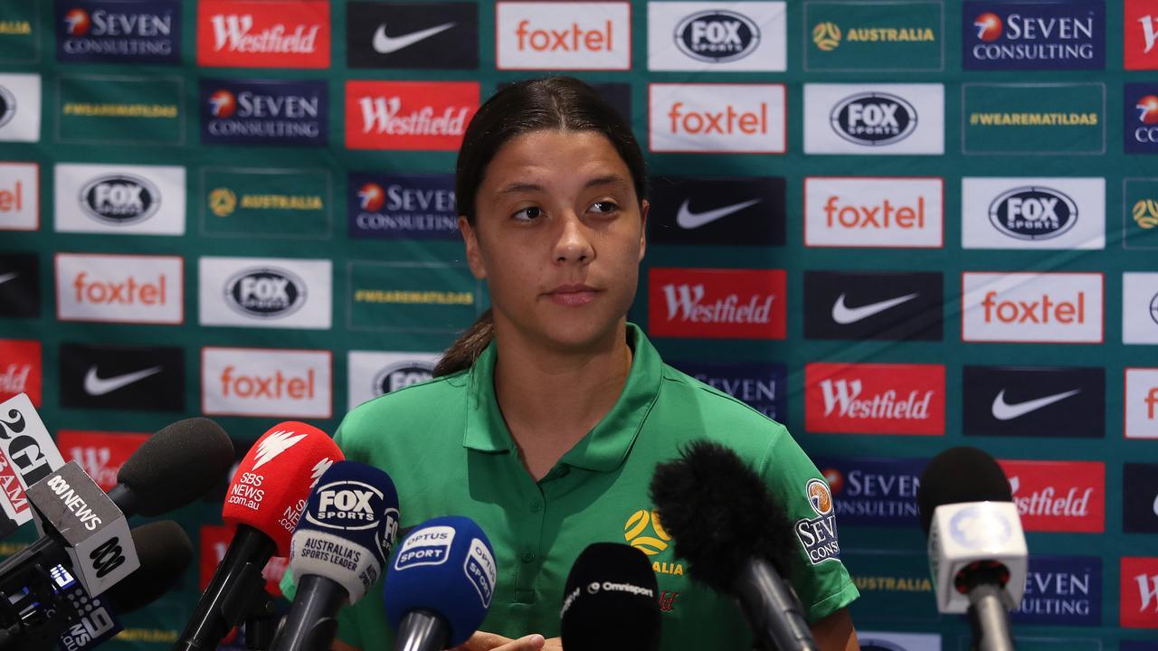 Matildas captain Sam Kerr press conference at the Intercontinental Sydney. Picture: Brett Costello