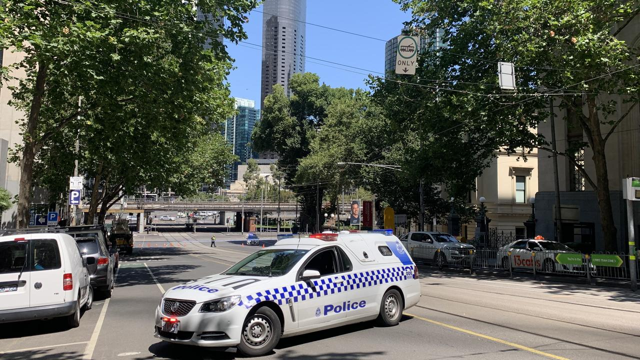 The CBD has come to a halt as the intersection of Flinders Street and William Street is blocked. Picture: Brianna Travers