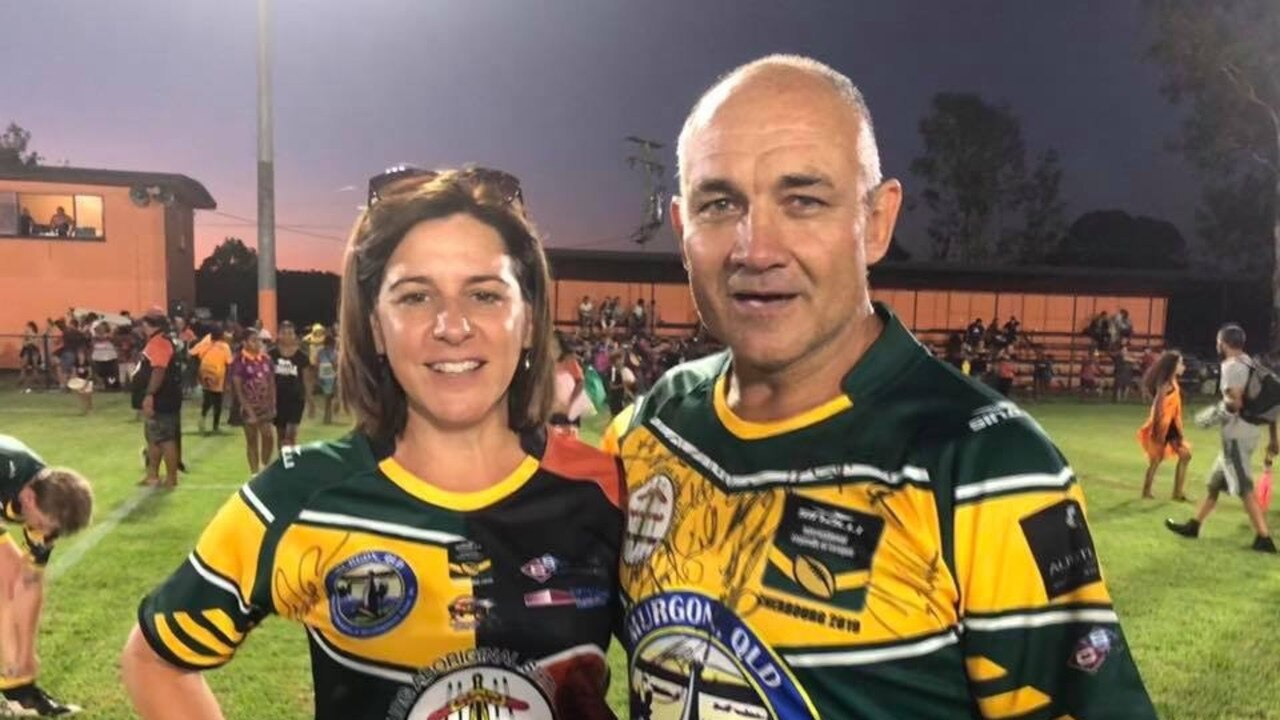 Bryan Niebling at the 2019 Legends of League match with MP Deb Freklington.