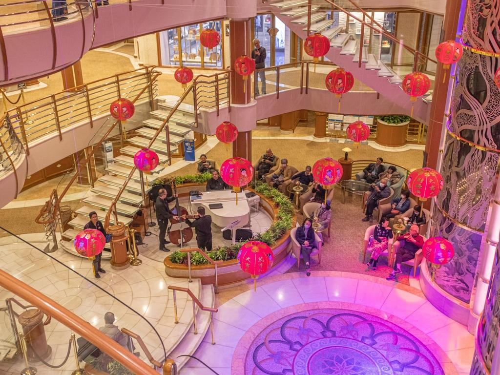 The atrium of the Diamond Princess cruise ship. Picture: Supplied/ David Abel