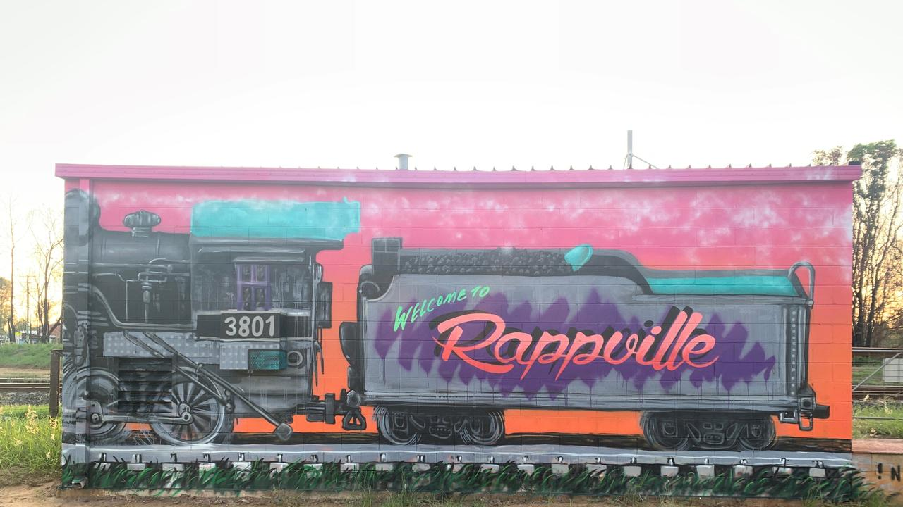 Nitsua has worked in Rappville over the past month on different projects but recently donated three days when the town were looking for a mural of the 3801 train.