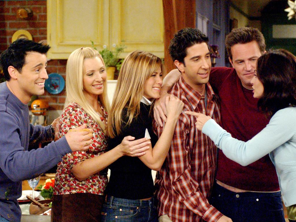 Matt LeBlanc, Lisa Kudrow, Jennifer Aniston, David Schwimmer, Matthew Perry and Courteney Cox in Friends. Picture: Supplied