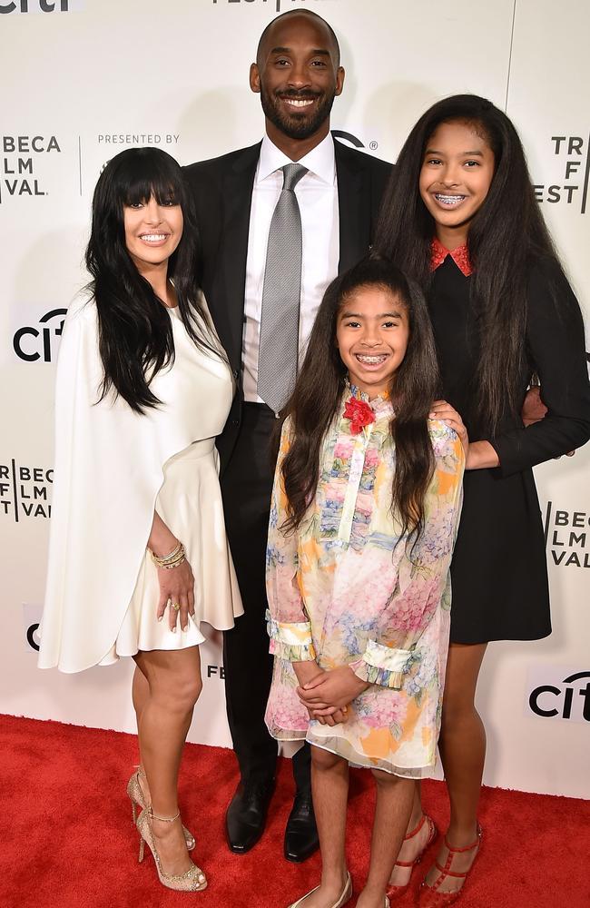 Vanessa Bryant, Kobe Bryant, Gianna Bryant and Natalia Bryant, pictured in 2017. Picture: Getty Images