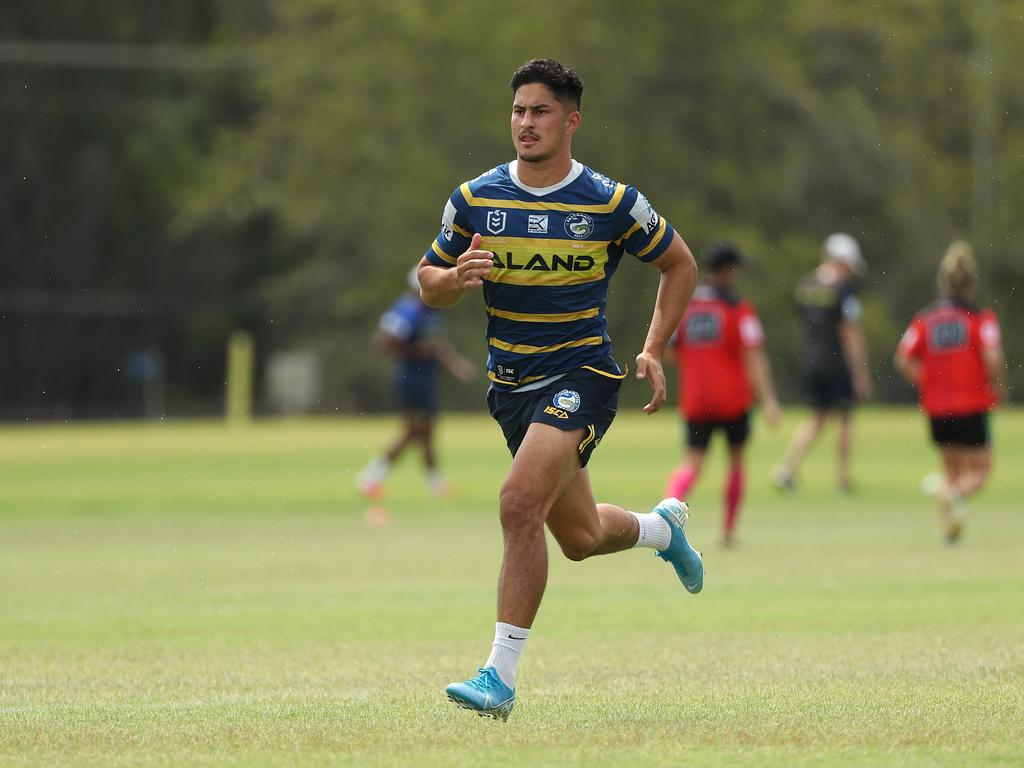 Dylan Brown during Parramatta NRL training. Picture: Brett Costello