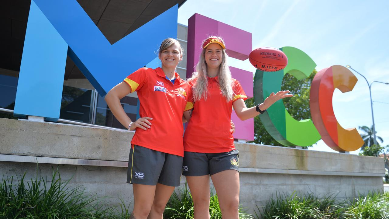 Emma Aeschlimann and Holly Mirfield stopped by the MECC for Mackay's annual Sports Expo and Sign-on Day last year.