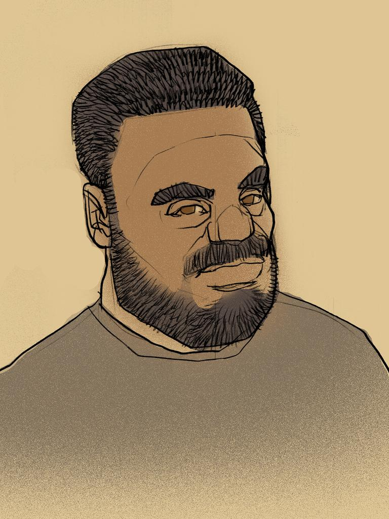 Tuhirangi-Thomas Tahiata is on trial for the killings and has pleaded not guilty to two counts of murder in the Brisbane Supreme Court. (Court illustration)