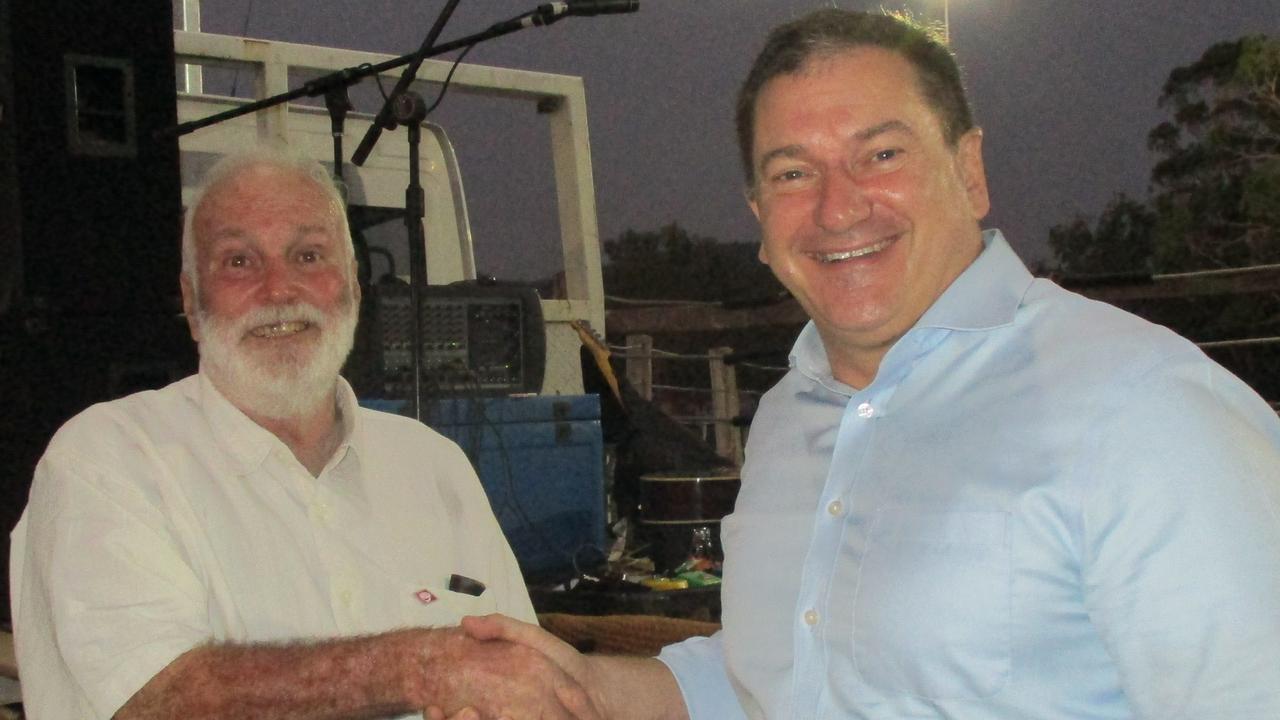Widgee Hall & Rec Association president Steve Hawkins (left) with Federal Member for Wide Bay Llew O'Brien.