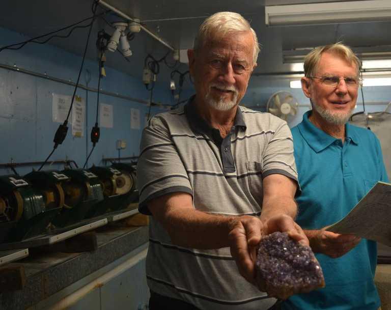 GEM SHOW: Gatton Lapidary Club Inc. Secretary Brian Wood and President Leon Steinhardt prepare for their biggest gem show yet. Photo: Ebony Graveur