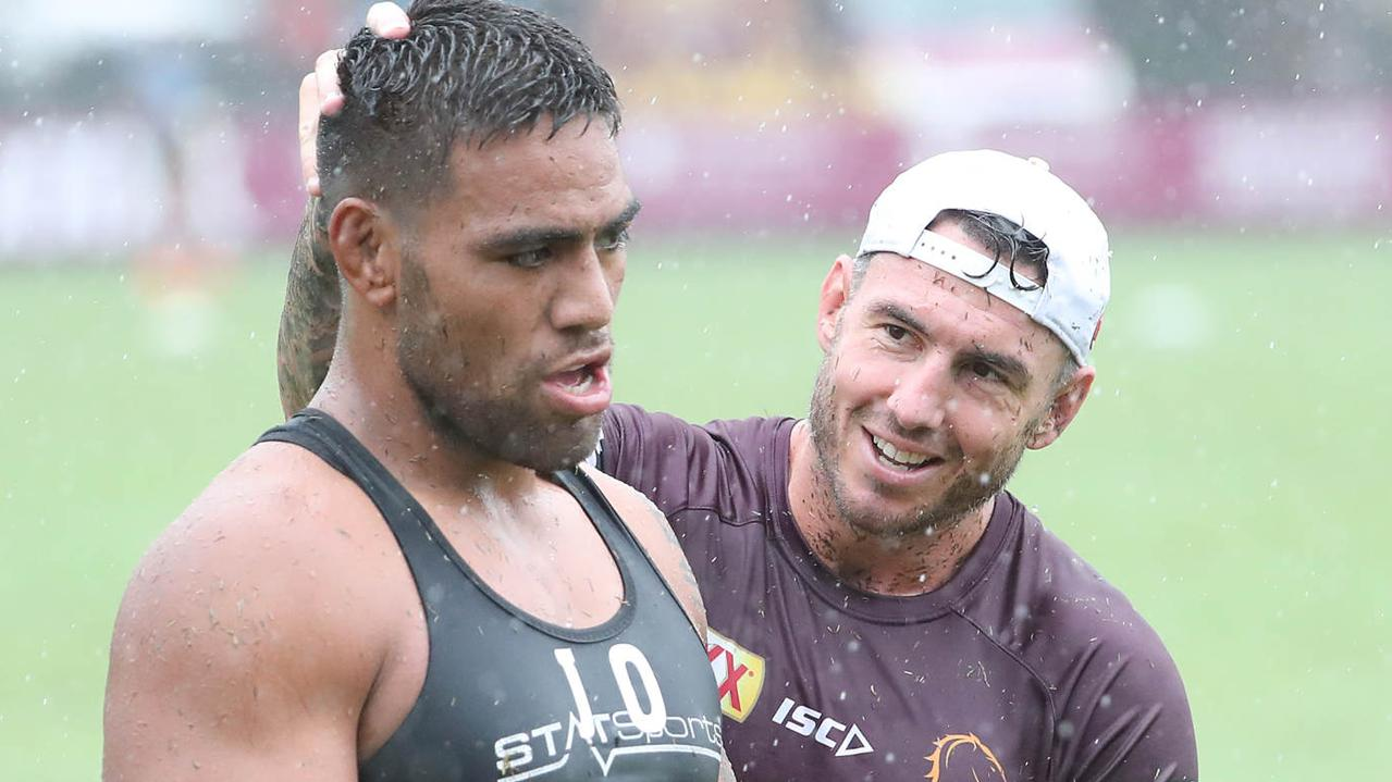 Joe Ofahengaue and Darius Boyd. The Brisbane Broncos training at Red Hill. Pic Peter Wallis