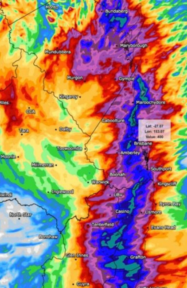 Weather modelling shows predictions of significant rainfall from this morning until 4am tomorrow. Picture: WeatherWatch.net.au