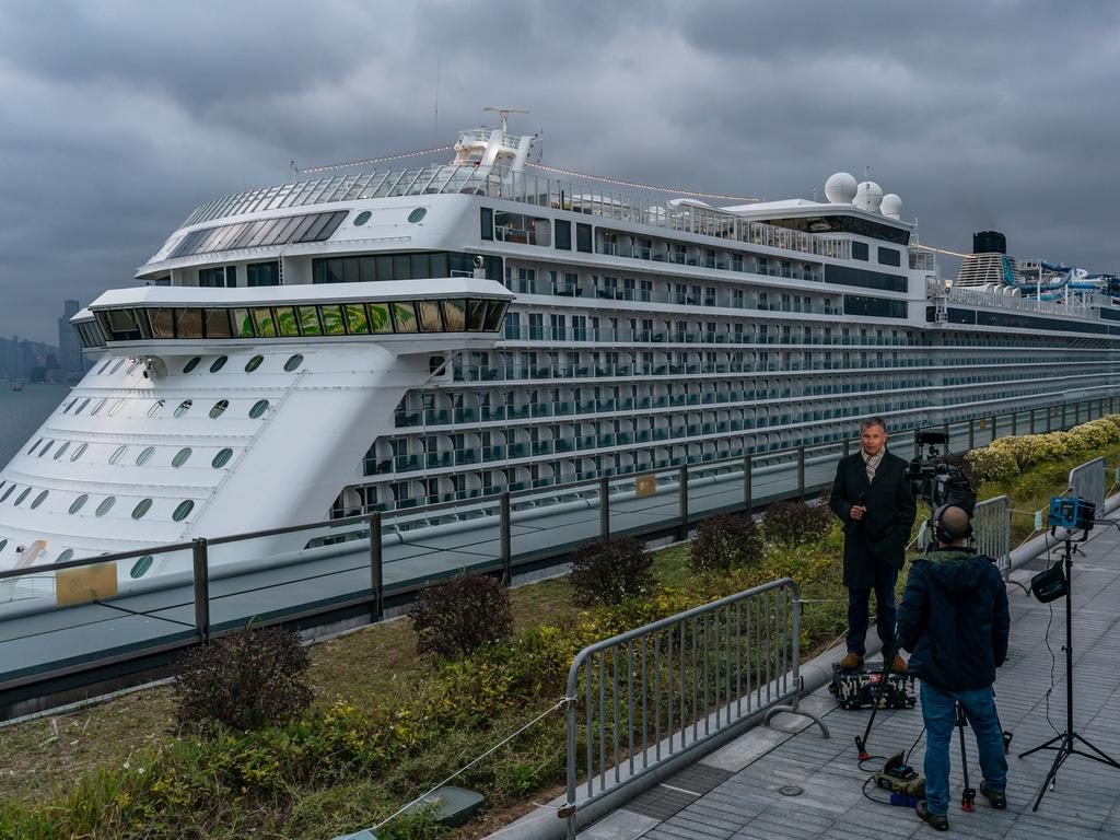 The World Dream cruise ship sits moored at Kai Tak Cruise Terminal in Hong Kong with more than 1800 passengers aboard. Picture: Getty Images