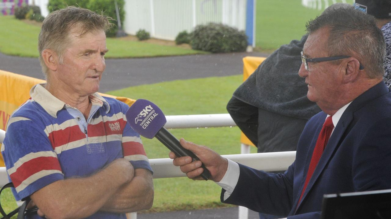 Trainer Andrew Parramore talks to Sky Racing after a win in the Race 1 Chinese New Year Benchmark 58 Handicap with Steppin' Up during a race meet at the Clarence River Jockey Club on Thursday, February 6, 2020.