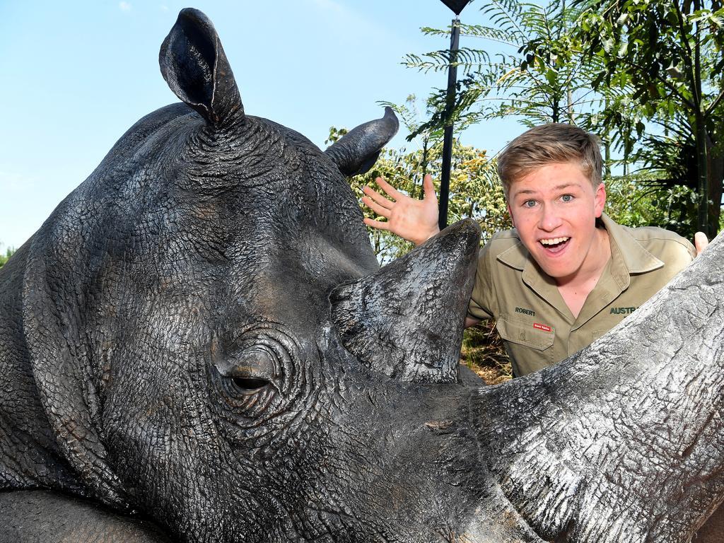 Celebrations at Australia Zoo, Beerwah, for Robert Irwin's 16th birthday.Robert Irwin checks out the new Rhino sculpture at the Zoo.