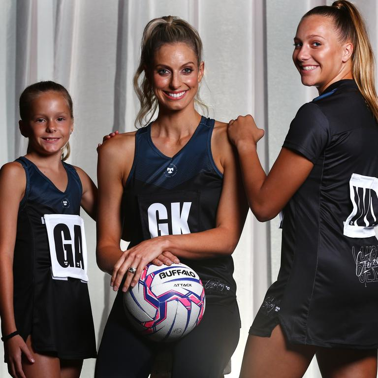 Laura Geitz, with Olivia Stariha, 9, and Teagan Levi, 16, has teamed up with Aussie activewear brand Tribal Sport to launch the performance-based Tribal Netball Geitzy range. Picture: Adam Head
