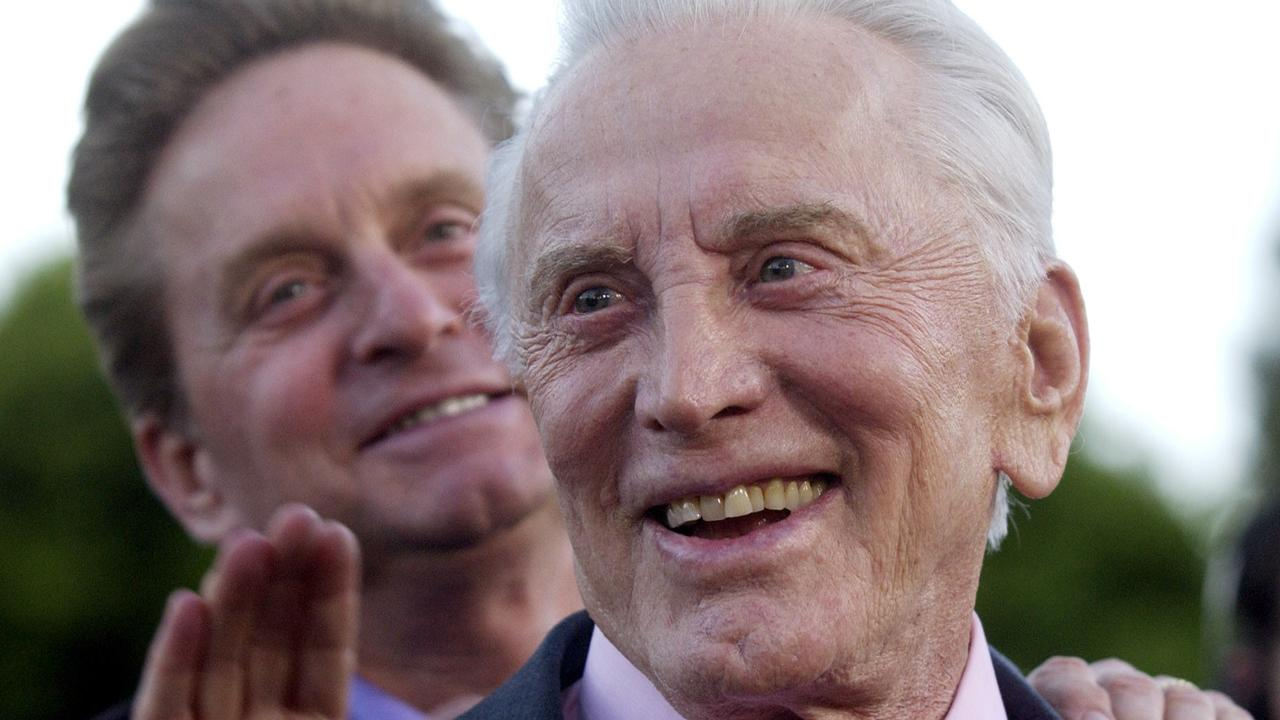 Kirk Douglas with son Michael Douglas in 2003.