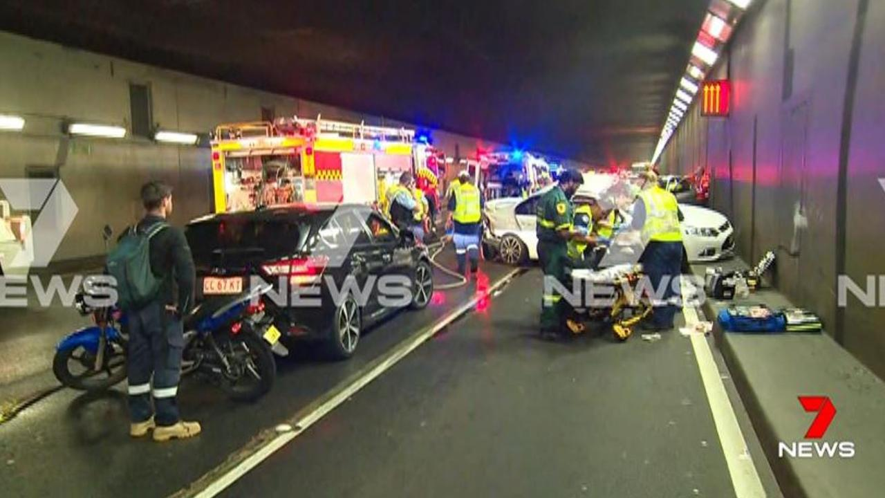 One person has died and four people have been seriously injured in a crash that has blocked the airport tunnel on General Holmes Drive southbound this morning. Picture: 7 News