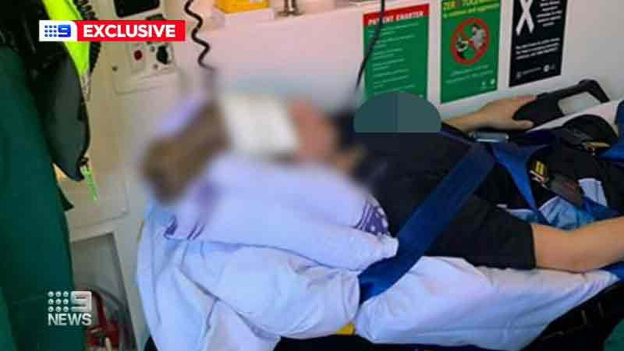 The girl in hospital after she was allegedly bashed by two other girls. Picture: 9 News