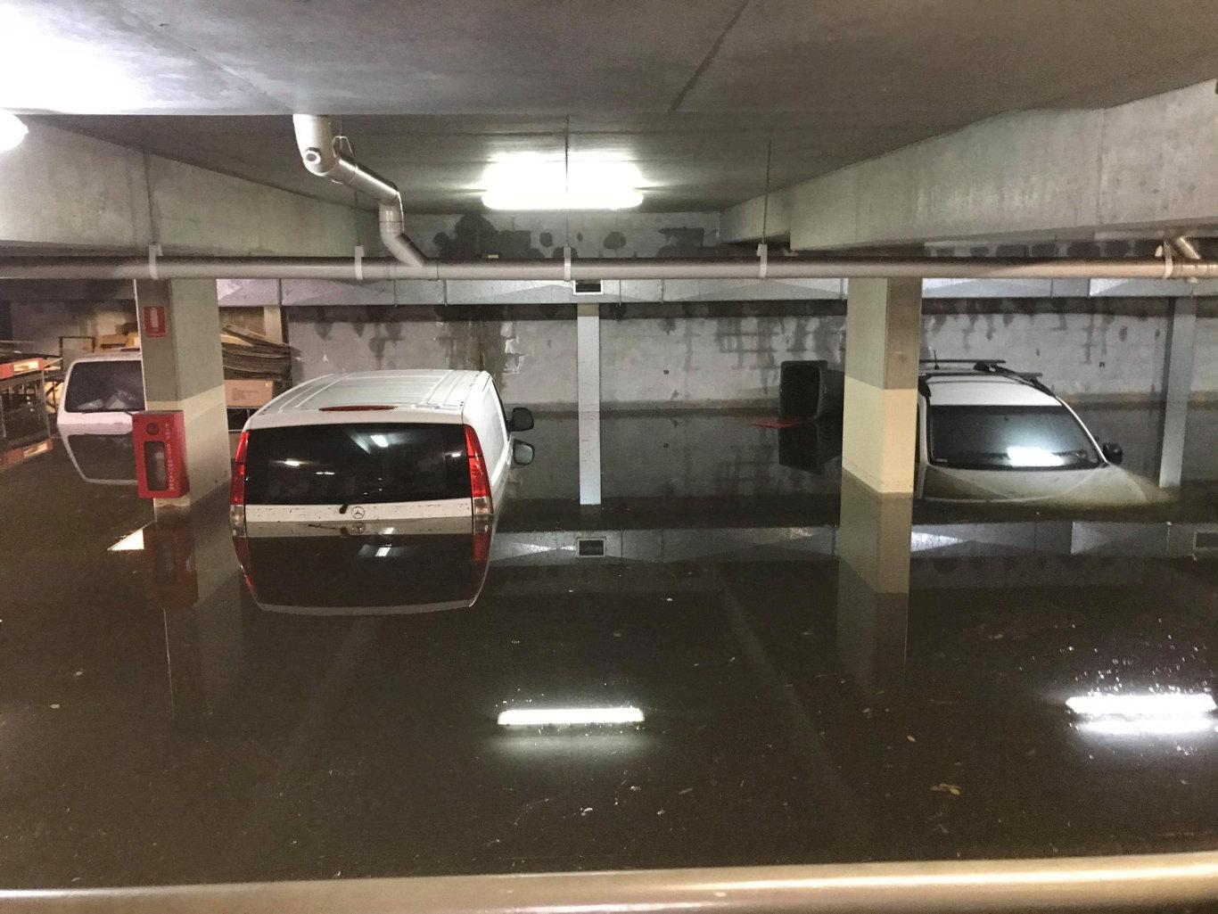Flooding in a Byron Bay carpark.