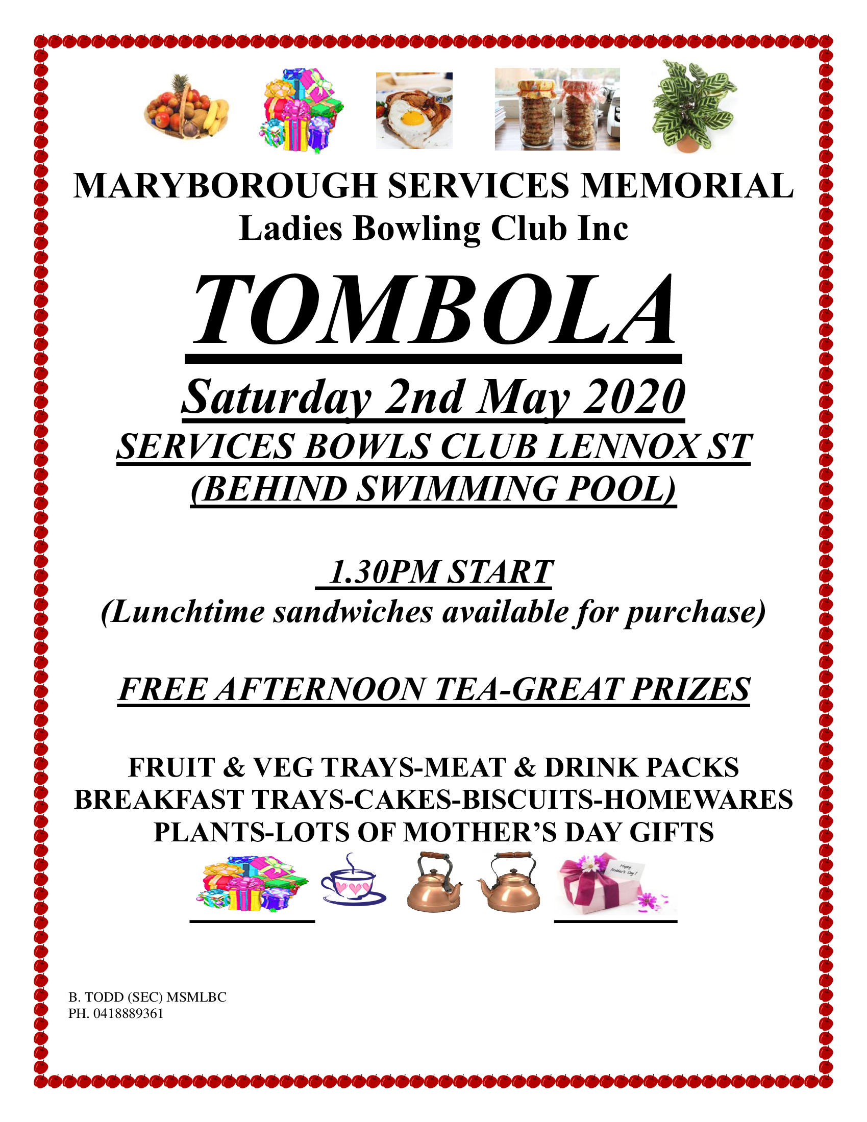 The ladies are holding another big Tombola with prizes to win just in time for Mothers Day