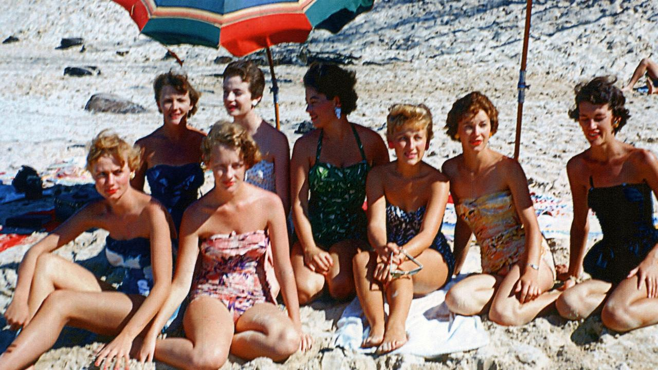 Ladies sunbathing on Maroochydore Beach, Maroochydore, ca 1955.