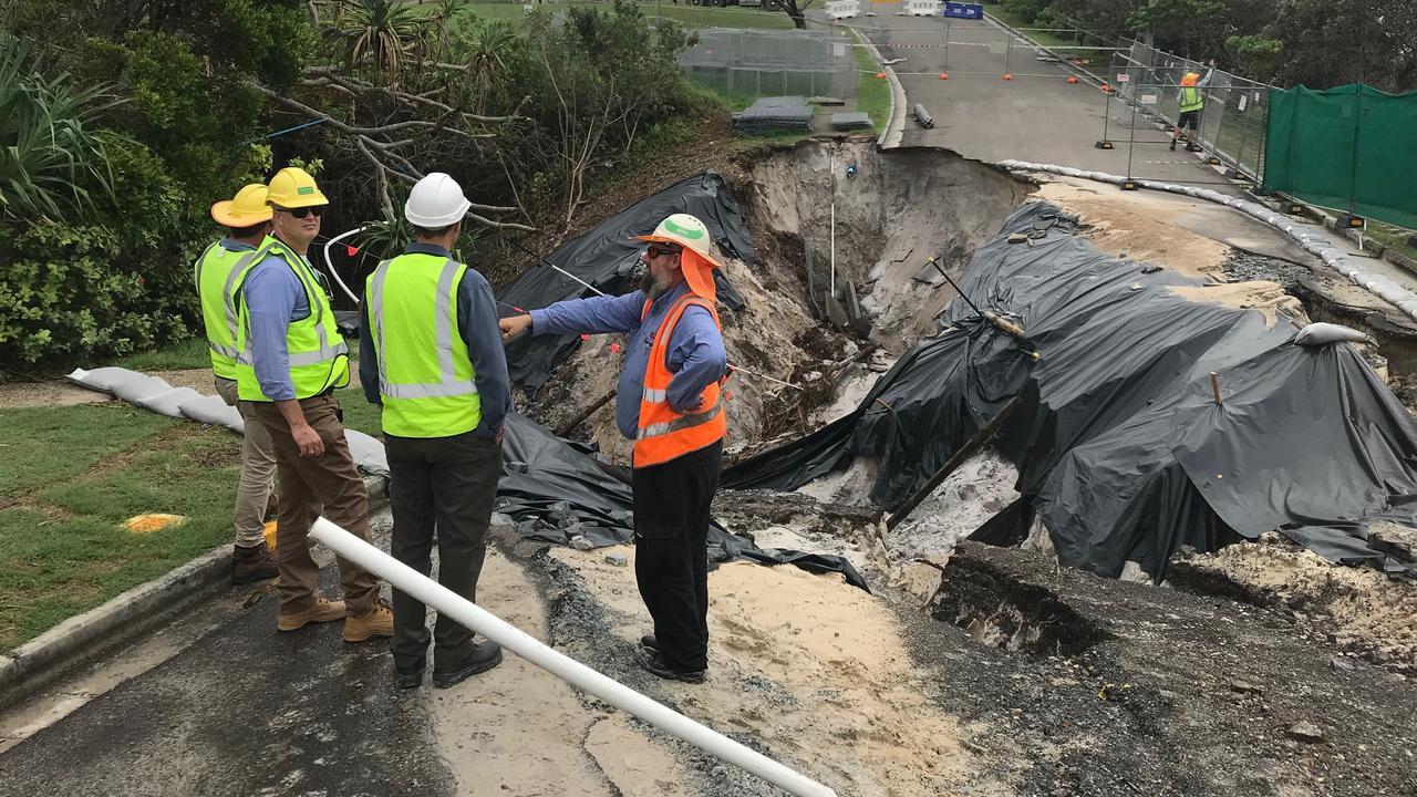 Noosa Council's experts inspect the latest Sunrise Beach land slip.