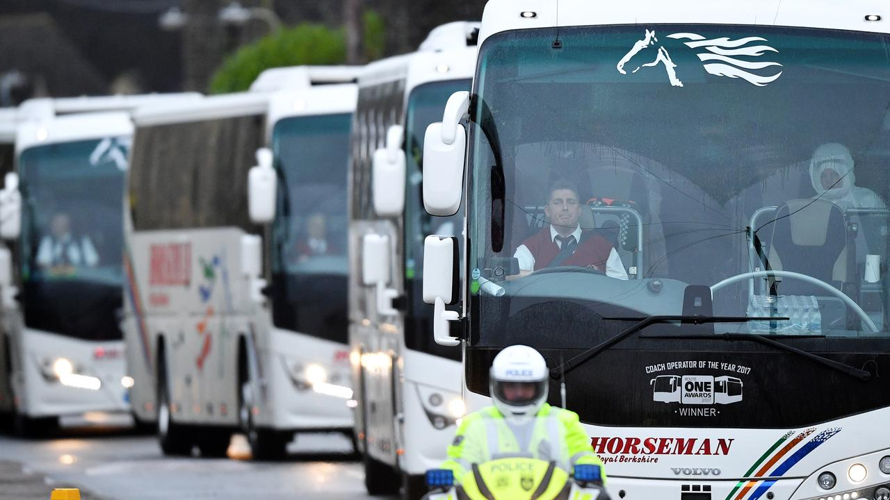 Coaches transport 83 Britons and 27 foreign nationals who have been evacuated from Wuhan to Arrowe Park Hospital in Merseyside on January 31. Picture: Leon Neal/Getty Images