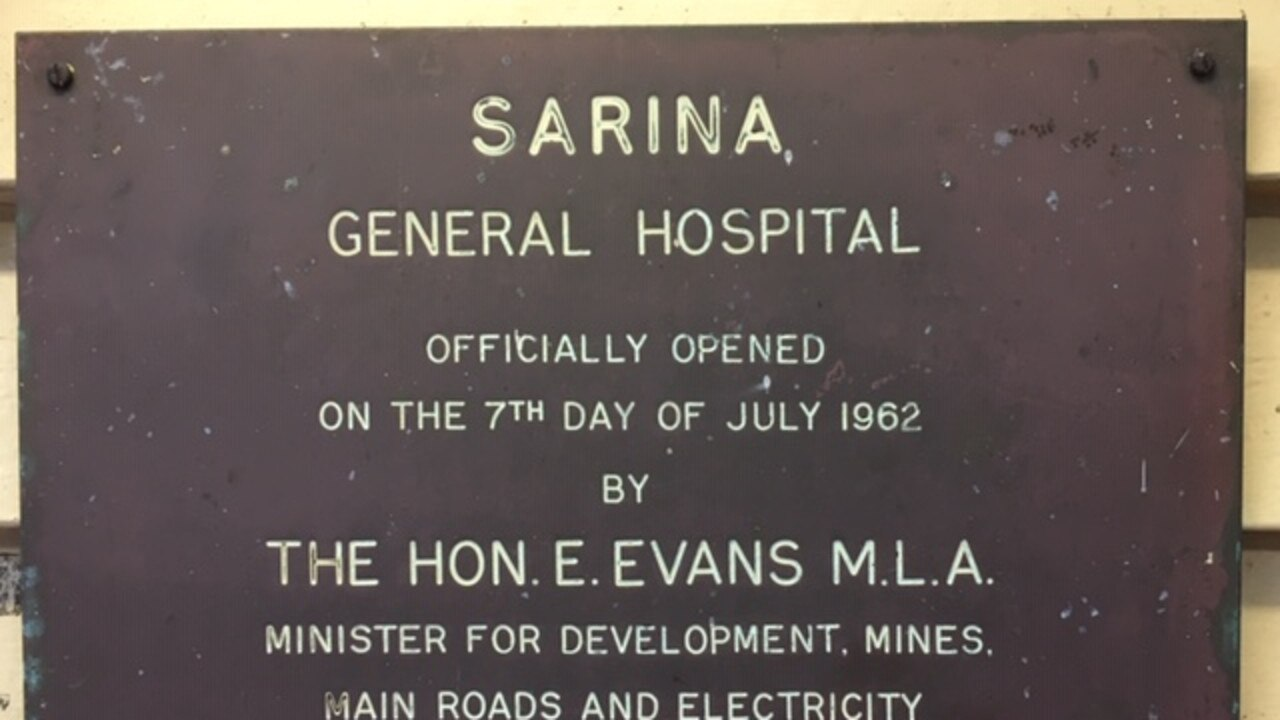 The plaque that commemorates the opening of Sarina Hospital.
