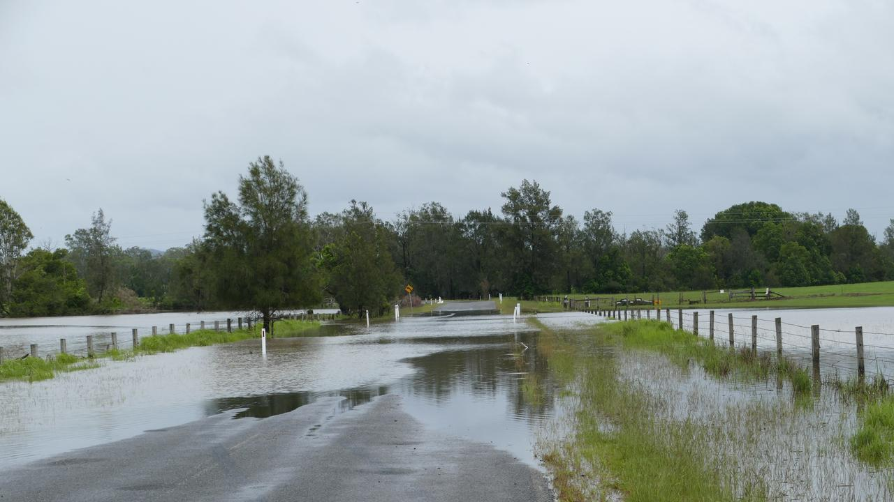 Flash flooding has cut Geregarow Rd to the west of Coutts Crossing.
