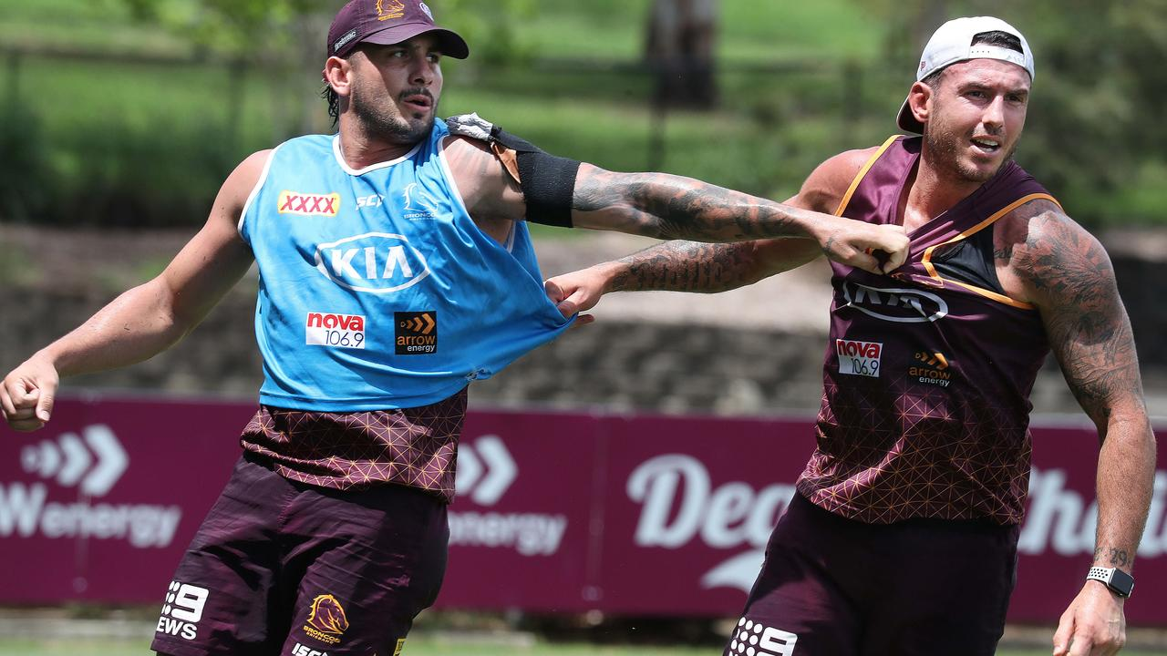 Jack Bird and Darius Boyd at Broncos training at Red Hill. Pic Annette Dew