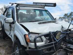Car totalled on Burnett Hwy after hitting guard rail at speed