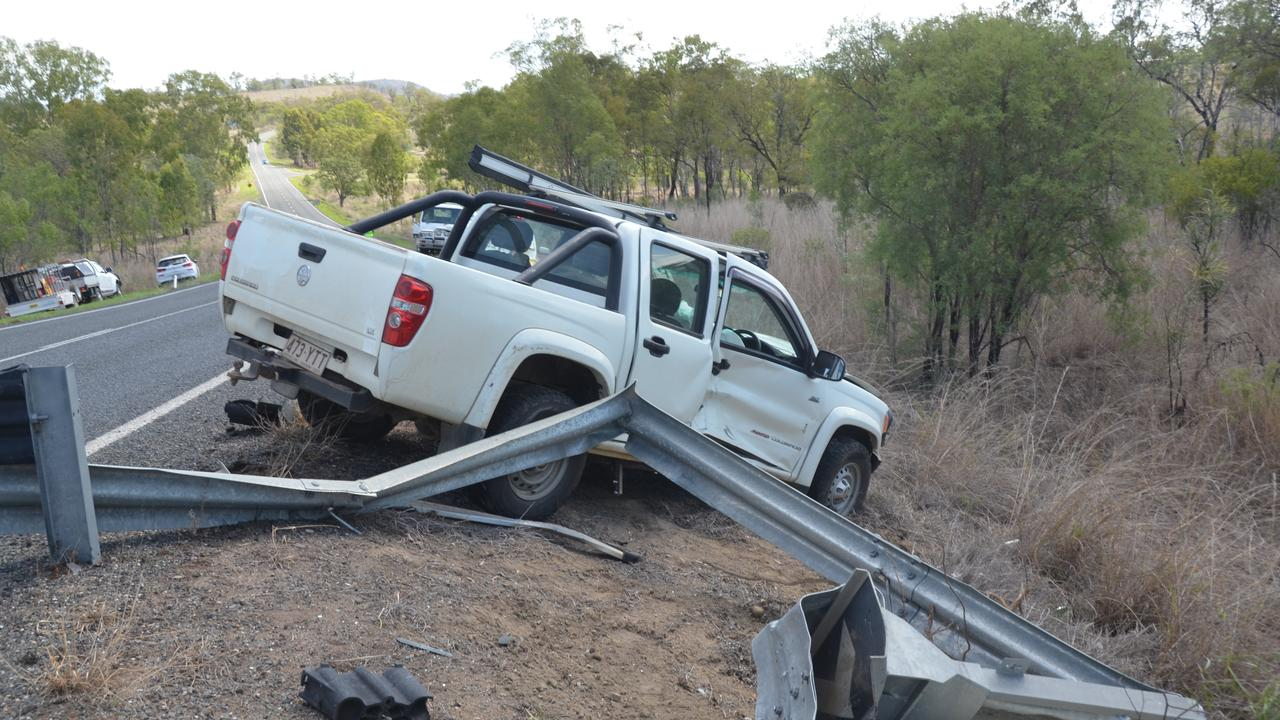 Scenes from a one vehicle crash along the Burnett Hwy, a few kilometres outside Gayndah. Picture: Sam Turner.