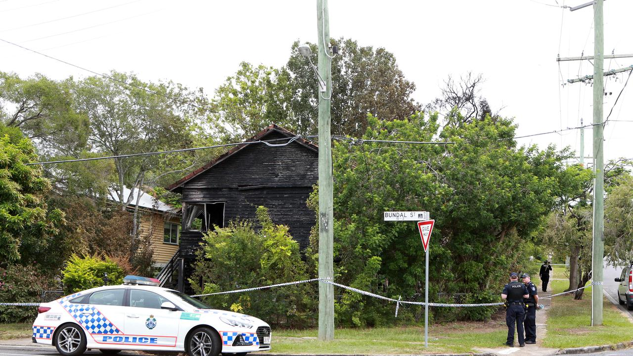 Police on scene at Bundal Street, Chermside, after a house fire. Picture: AAP/Image Sarah Marshall