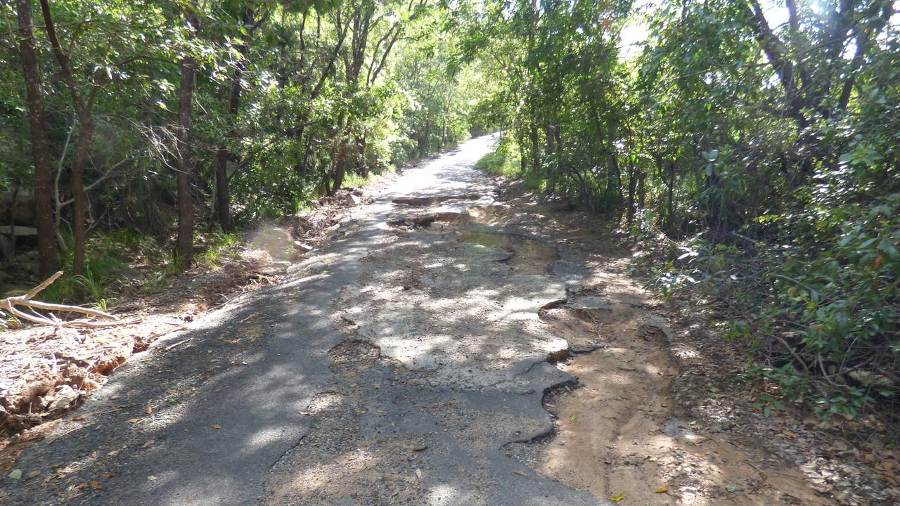 Radical Bay Rd, Radical Bay, Magnetic Island, is rough as guts and has crater-sized potholes. Picture: Supplied