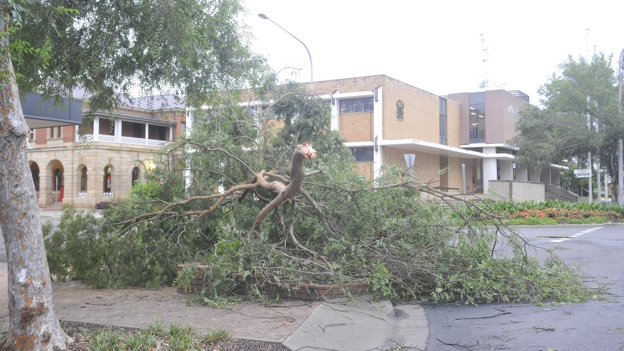 A tree snapped in half in the Grafton CBD at the intersection of Prince and Victoria streets from damaging winds in a severe thunderstorm at Grafton on Thursday, 23rd January, 2020