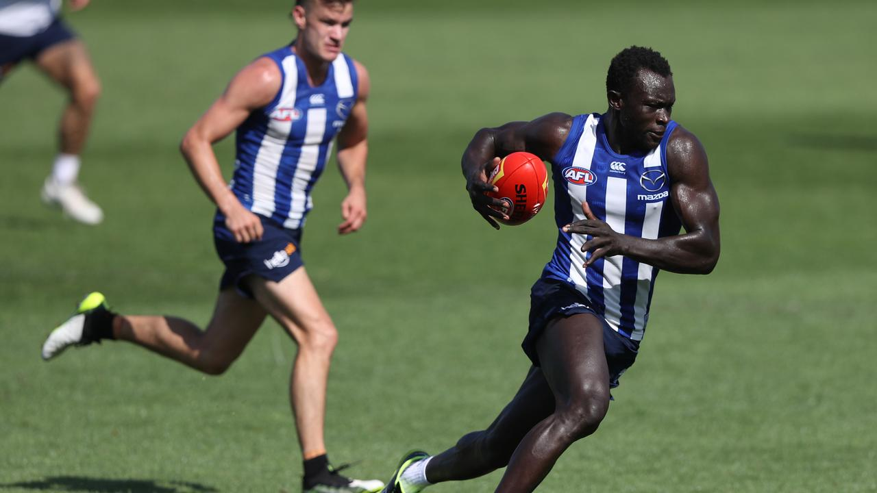 Majak Daw at North Melbourne pre-season training.