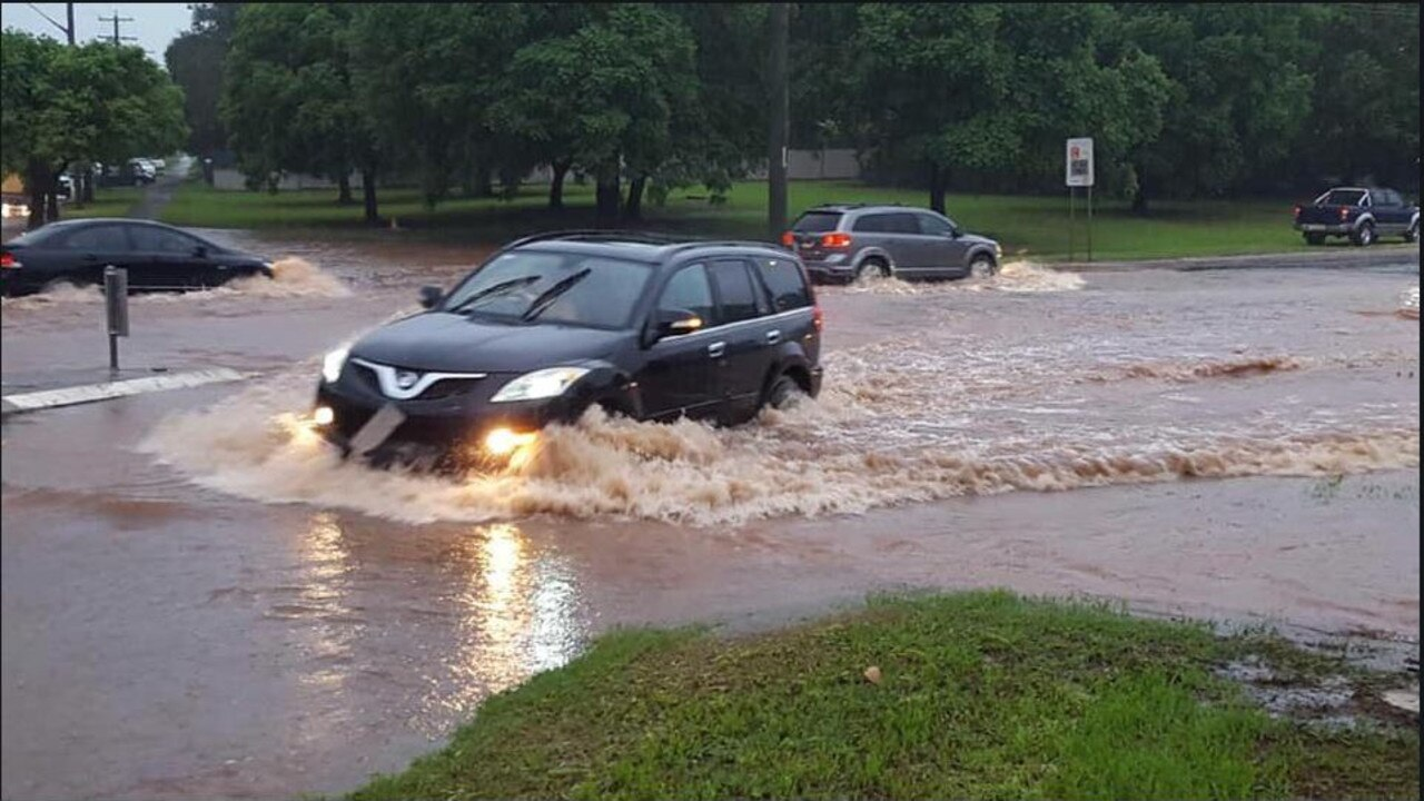 Flash flooding in Central Toowoomba, the region has been slapped with heavy storms. Photo: 7 News Townsville/RACQ.